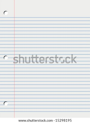Vector Sheet of Loose Leaf Paper - stock vector