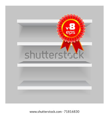 Vector shelves on gray background. Easy to edit and re-size - stock vector