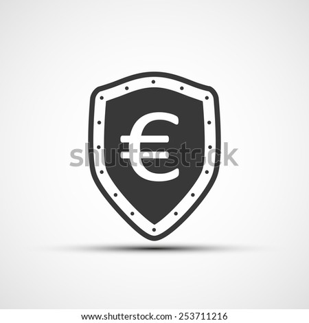Vector shield with shield and euro sign. - stock vector
