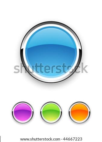 Vector Shiny Button Set - stock vector