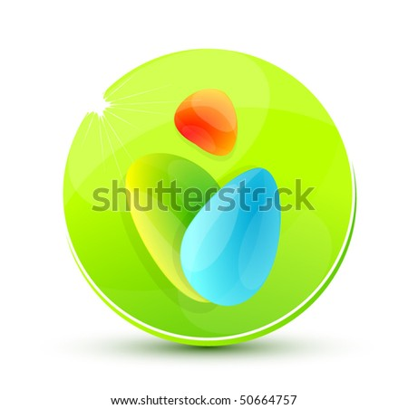Vector shiny button with abstract symbol
