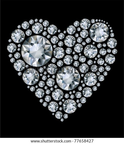 Vector shiny diamond heart on black background - stock vector