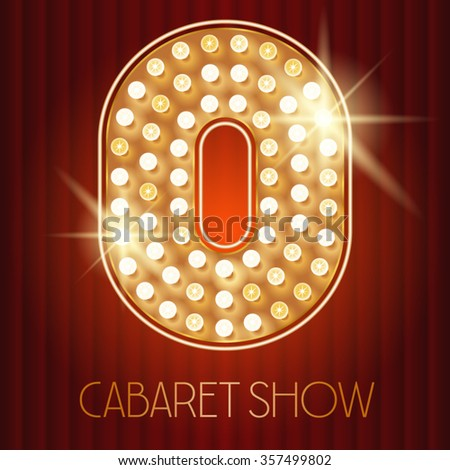 Vector shiny gold lamp alphabet in cabaret show style. Number 0 - stock vector