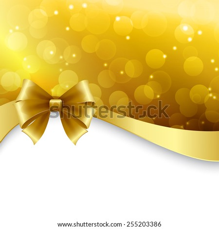 Vector Shiny Holiday background with gold bow. Christmas Gift card - stock vector