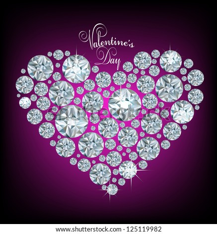 Vector shiny made with diamond heart on purple background - stock vector