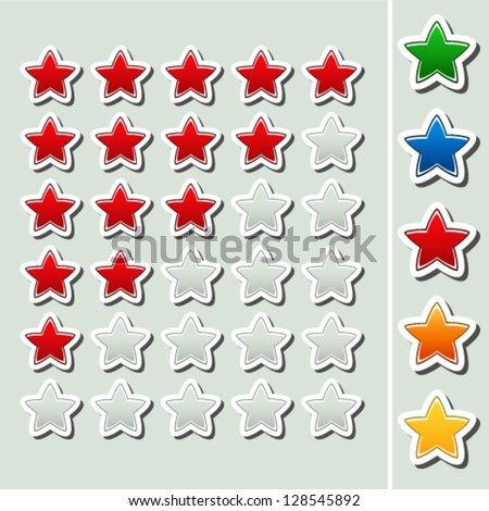 Vector shiny rating stars - five various color - red, green, blue, orange, yellow - stock vector