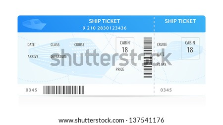 Vector Ship ticket (template / layout) with silhouette. Travel by Cruise liner (Transport). Enjoy your vacation. Isolated illustration on white background - stock vector