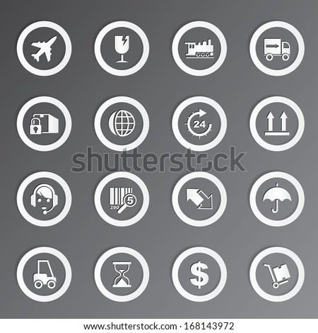 Vector shipping and transportation icons set. - stock vector