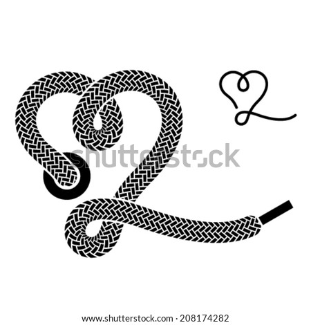 vector shoe lace heart symbol - stock vector