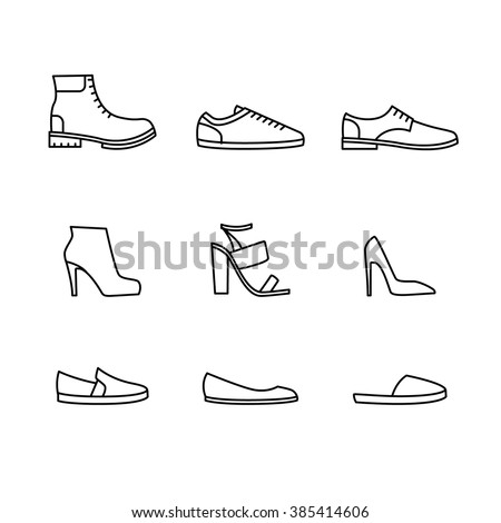 Vector shoes icon set isolated on white background - stock vector