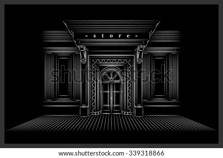 Vector Shop Boutique Store Front with Big Window and Place for Name Shop Front. Exterior horizontal windows empty for your store product presentation or design. Shop Front. Black Background. EPS 10  - stock vector