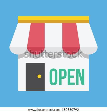 Vector Shop Building with Open Sign Icon - stock vector