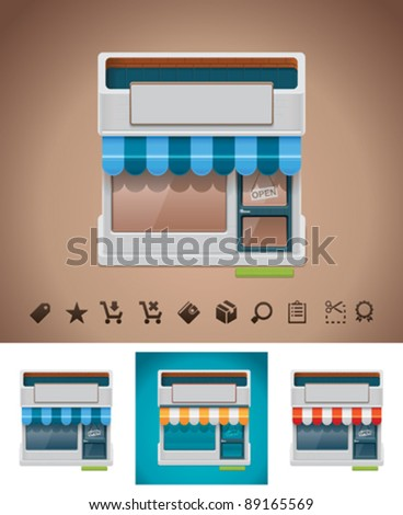 Vector shop icon with related pictograms - stock vector