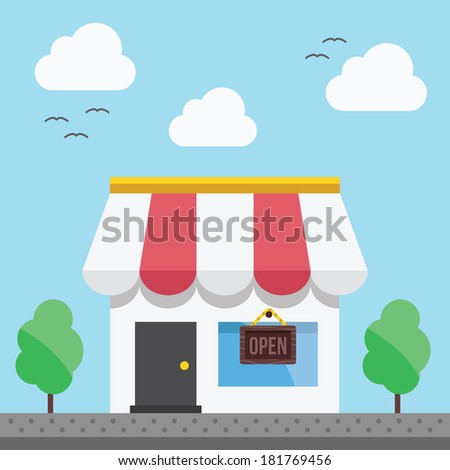 Vector Shop or Store Building Illustration - stock vector
