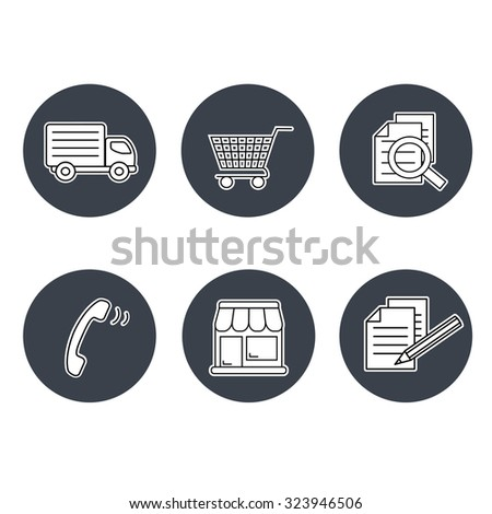 Vector shop symbols, navigation - stores, how to purchase, terms and conditions, contact, sign in and register, shipping, grey circular button - stock vector