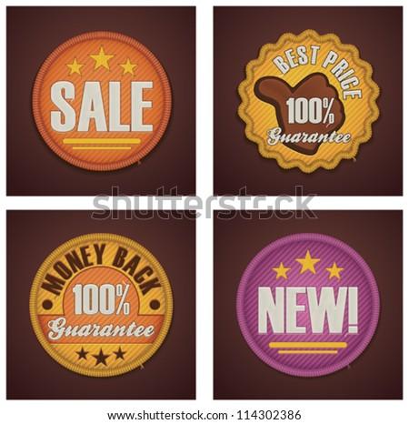 Vector shopping badges set - Sale, Best price, Money back guarantee, New - stock vector