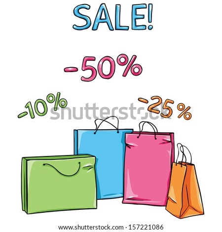 vector Shopping Bags for sale 50, 25, 10 percent discount  - stock vector