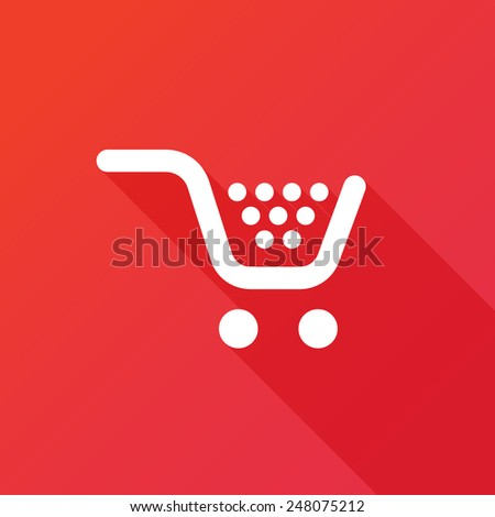 Vector shopping cart flat icon. Long shadow effect - stock vector
