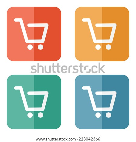 Vector shopping cart icon on colored buttons - stock vector