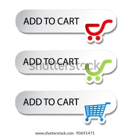 Vector shopping cart item - add buttons - stock vector