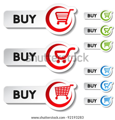 Vector shopping cart item - buy buttons - stock vector