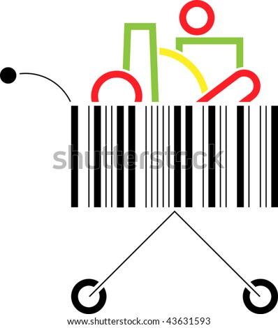 Vector shopping cart made up of a bar code pattern - stock vector