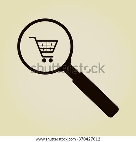 Vector shopping cart with Search Icon  - stock vector