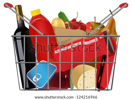 vector shopping full grocery basket, eps10 file, gradient mesh and transparency used, raster version available - stock vector
