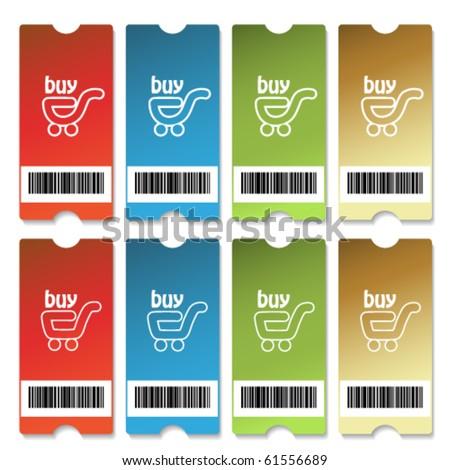 Vector shopping tickets - stock vector