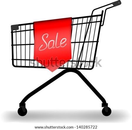 vector shopping trolleys and sale sign, gradient mesh used for shadow, raster version available - stock vector