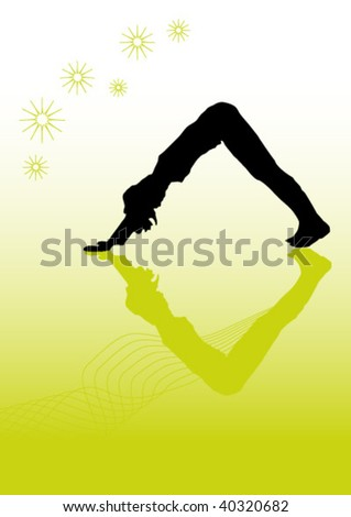 Vector showing a black silhouette practice yoga in front of a graded background. Size and color can be changed. - stock vector