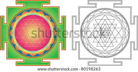 Vector Shri  Yantra (or Sri Yantra) for Meditation .  Color and contour image - stock vector