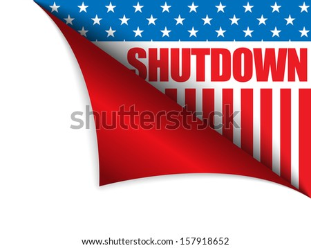 Vector - Shutdown Closed United States of America Page Corner - stock vector
