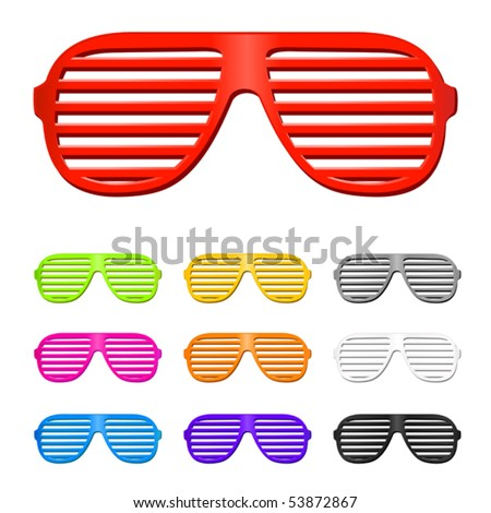 vector shutter shades sun glasses collection - stock vector