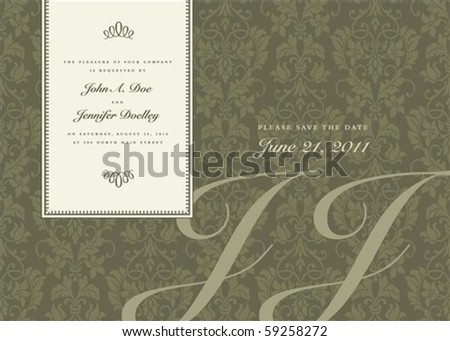 Vector side frame and ornate pattern. Perfect as invitation or announcement. Pattern is included as seamless swatch. All pieces are separate. - stock vector