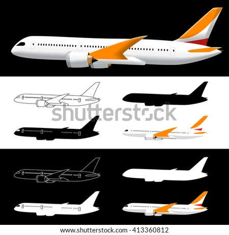 Vector Side View Airplane with Silhouette on a Black and White Background  - stock vector