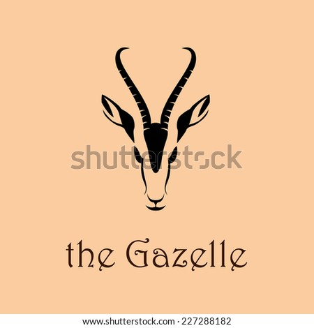 Vector sign abstract head of African gazelle - stock vector