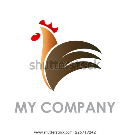 Vector sign abstract Rooster - stock vector