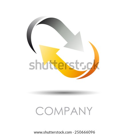 Vector sign arrows in movement, together - stock vector