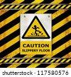 vector Sign caution blackboard caution slippery floor - stock photo