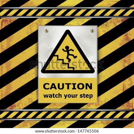 vector Sign caution blackboard watch your step - stock vector