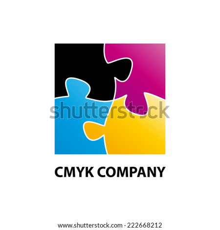 Vector sign CMYK puzzle - stock vector