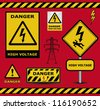 vector sign danger  high voltage warning collection - stock photo