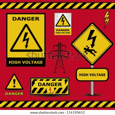 vector sign danger  high voltage warning collection - stock vector