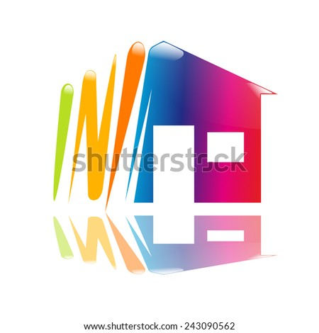 Vector sign draw a house - stock vector