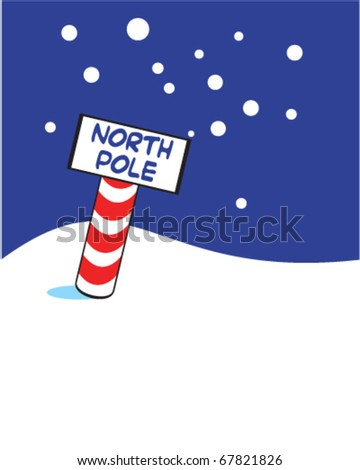 vector sign for north pole with winter landscape - stock vector