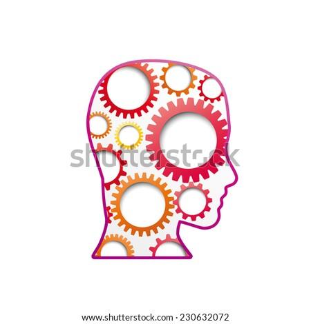 Vector sign Gear in head - stock vector
