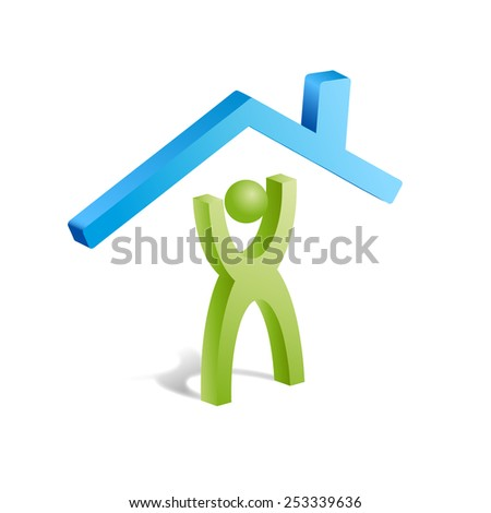 Vector sign home assistance - stock vector