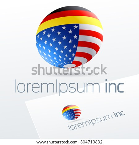 Vector sign in sphere shape for international business, tourism and communications. Germany and United States of America