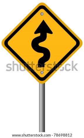 Vector sign of winding road - stock vector